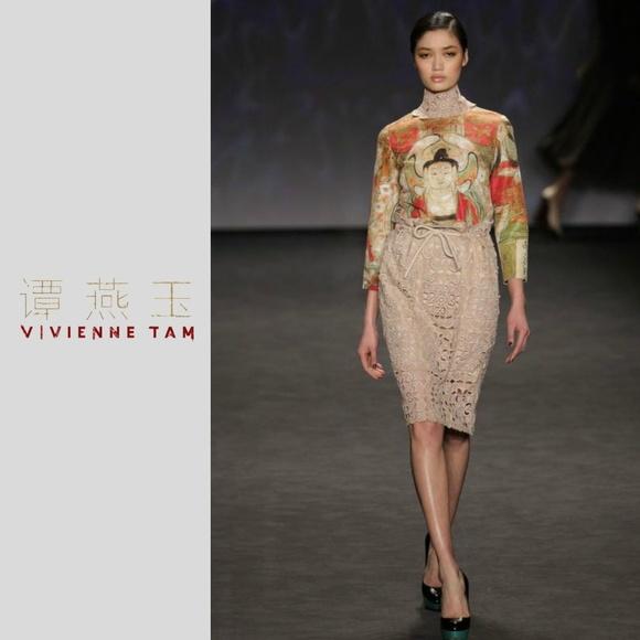 62744662e3 Vivienne Tam Skirts | Nwt Lace Overlay Knee Length Skirt | Poshmark